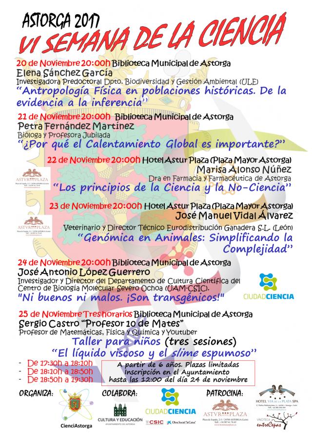 Cartel Semana de la Ciencia en Astorga