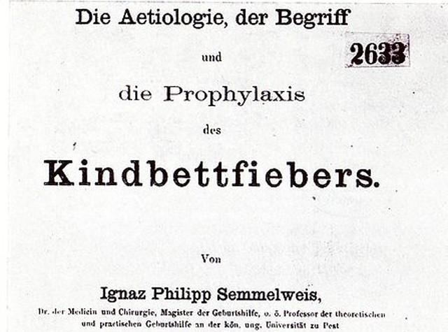 Portada del libro Etiología, concepto y profilaxis de la fiebre puerperal (fragmento), de Ignaz Semmelweis.