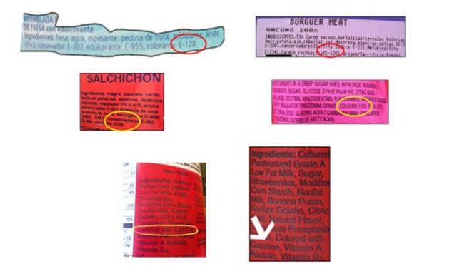 """Etiquetas de alimentos que contienen cochinilla: Las cuatro superiores muestran la denominación de la UE (E-120) y corresponden a mermeladas, carne, embutidos y caramelos. Las dos inferiores corresponden a yogures y helados comercializados en los EE.UU con la denominación """"carmine"""" para este colorante natural."""