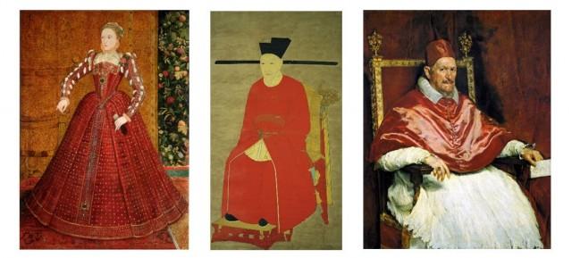 El carmesí como símbolo del poder: De izquierda a derecha Elisabeth I de Inglaterra,  el emperador Gaozong y el Papa Inocencio X.