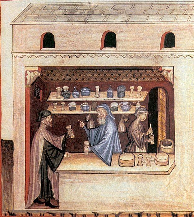 Derechos de autor de la imagen SCIENCE PHOTO LIBRARYImage captionUna farmacia italiana del siglo XIV en la que una farmacéutica dispensa triaca, en ese entonces hecha con 100 ingredientes.