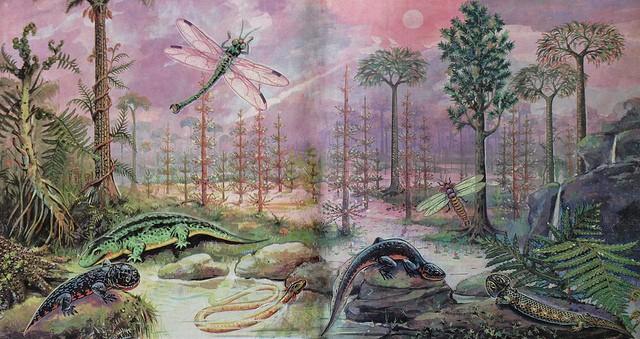 Representación artística del carbonífero según The Paleobear