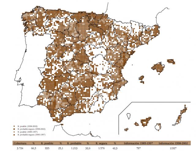 Distribución de lechuzas en España. Fuente