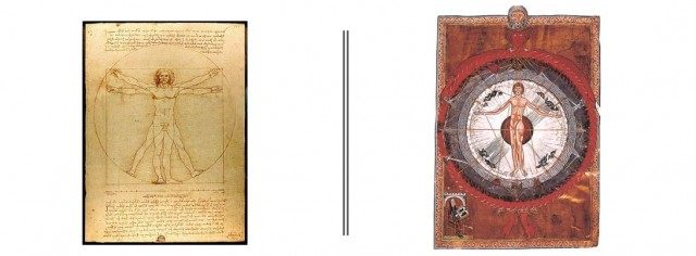 Hombre de Vitruvio (Leonardo da Vinci, 1490) | Hombre Cósmico (HIldebarda de Bingen, 1150)