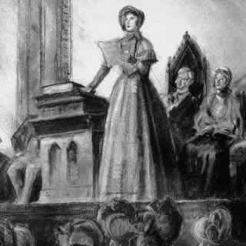 Elizabeth Cady Stanton pidiendo el fin de la discriminación contra las mujeres en la Convención de Seneca Falls el 20 de julio de 1848.