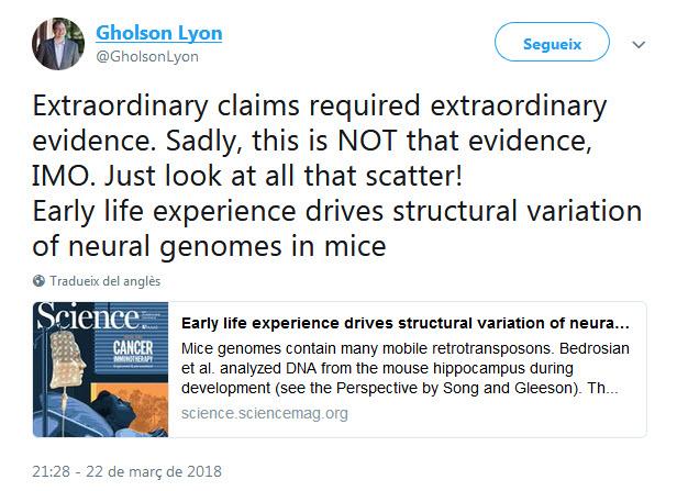 Afirmaciones extraordinarias requieren de pruebas extraordinarias. Por desgracia, aquí NO hay ninguna evidencia. ¡Fijaos en toda esa dispersión (de datos)!