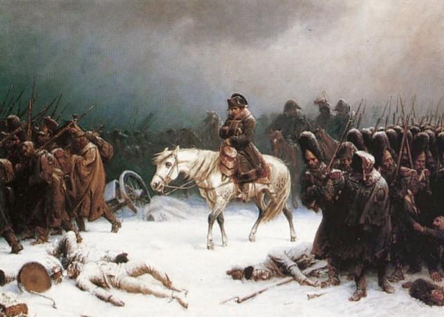 : Retirada de Napoleón de Moscú, de Adolph Northen. El ejército galo hubo de retriarse a pie debido a la práctica total eliminación de sus monturas debido al frío y la falta de forraje