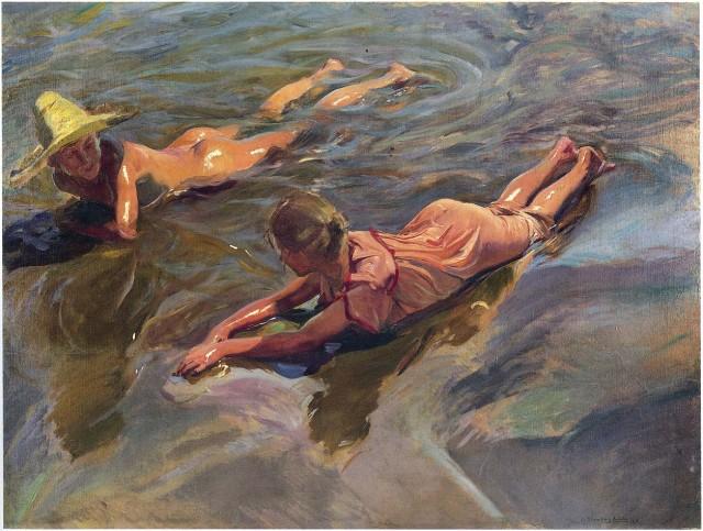 El modelo para nuestro puzle va a ser este óleo de Sorolla de nombre Idilio en el mar, pintado en 1908.