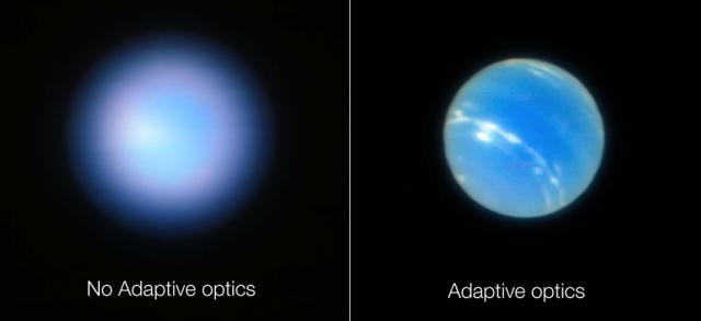 Una imagen vale más que mil palabras. Neptuno visto por el VLT, antes y después de usar óptica adaptativa. Fuente: ESO/VLT