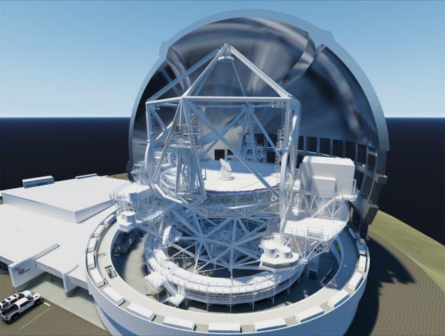 Este magnífico renderizado muestra la estructura interna del TMT. Las plataformas Nasmyth ubicadas a cada lado albergarán la instrumentación. Fuente: TMT/M3 Engineering