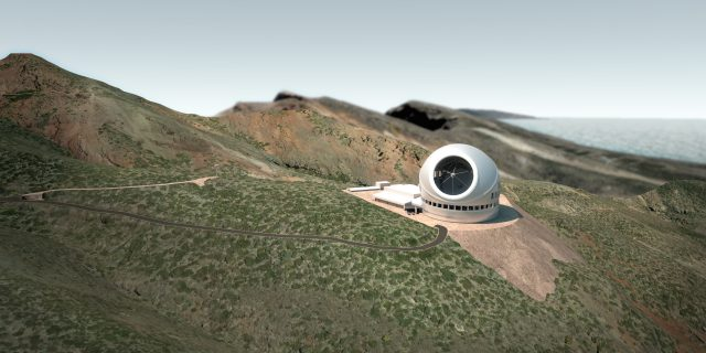 ¿Será posible ver esta estampa? Recreación de cómo de coqueto quedaría el TMT en el observatorio del Roque de los Muchachos en La Palma. Fuente: TMT/M3 Engineering