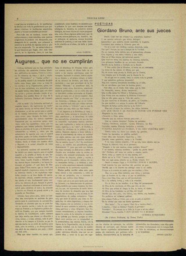 """Poema """"Giordano Bruno, ante sus jueces"""" en Tribuna Libre"""