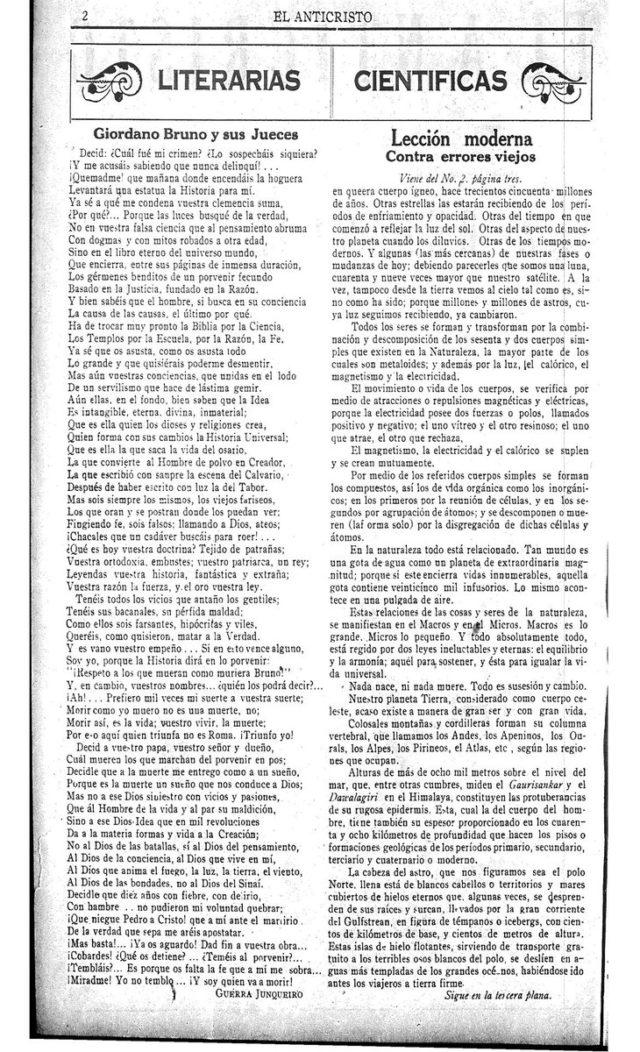 """El poema, en la revista """"El Anticristo"""""""