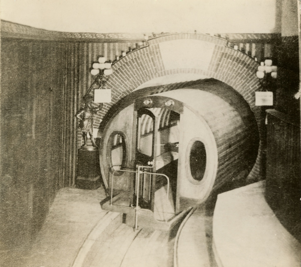 Vehículo del transporte neumático de Beach, Nueva York. (Imagen: New York Historical Society).